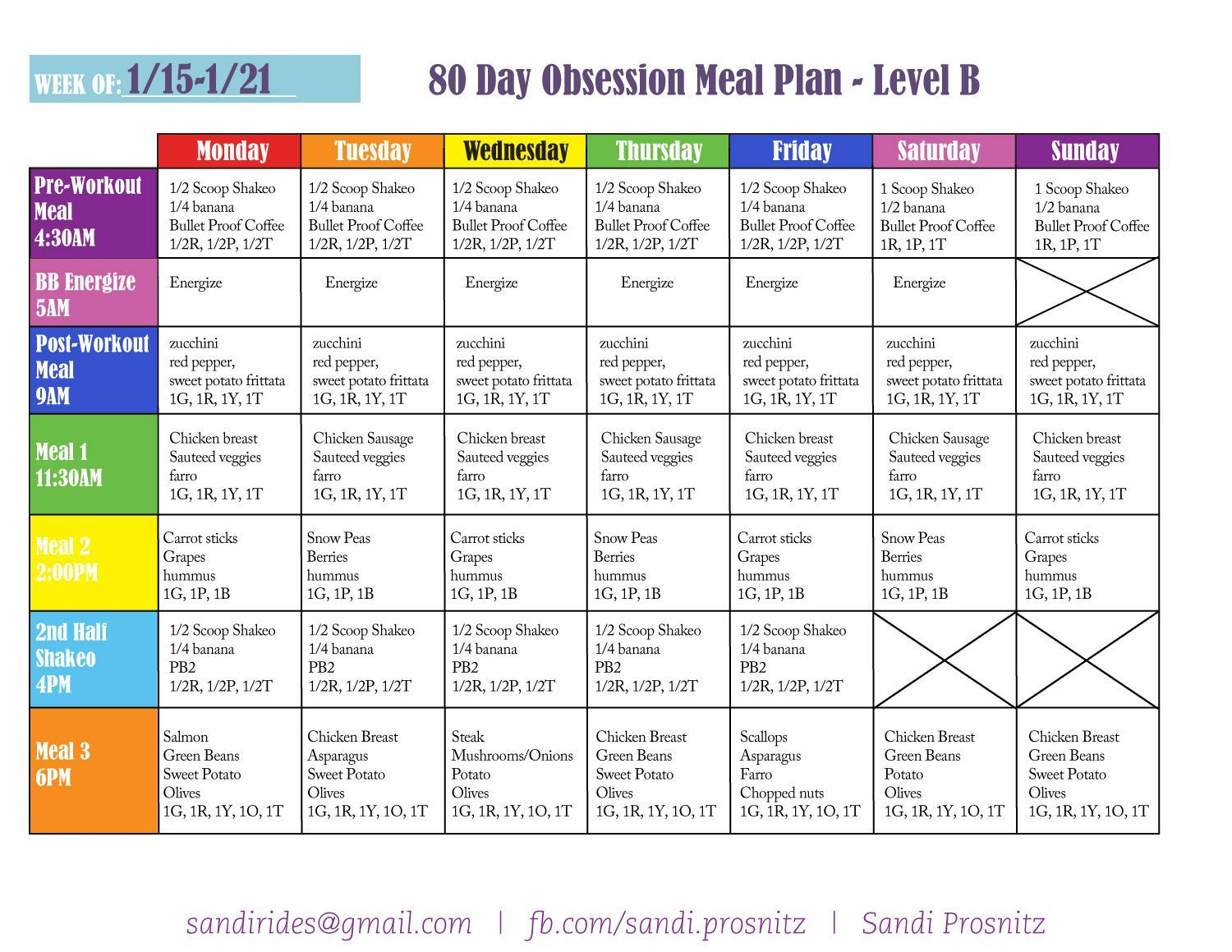 This Is My Meal Plan For Week One Of 80 Day Obsession I