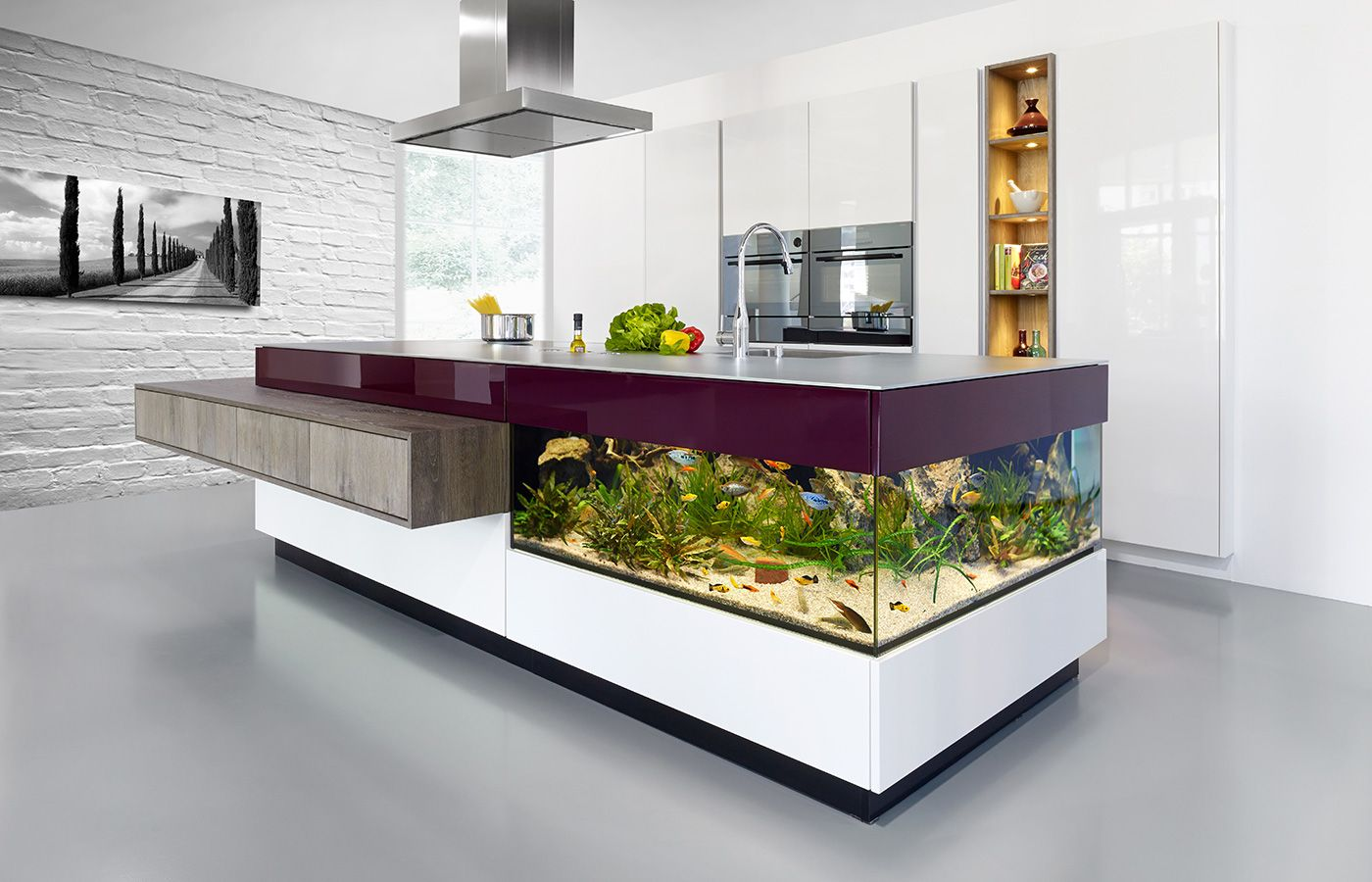 Here I Have A Collection Of 22 Beautiful Interiors With Spectacular Aquariums You Have To See Kitchen Inspiration Modern Beautiful Interiors Built In Furniture