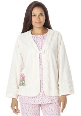 Plus Size Robe Bed Jacket Length In Plush Chenille With Images