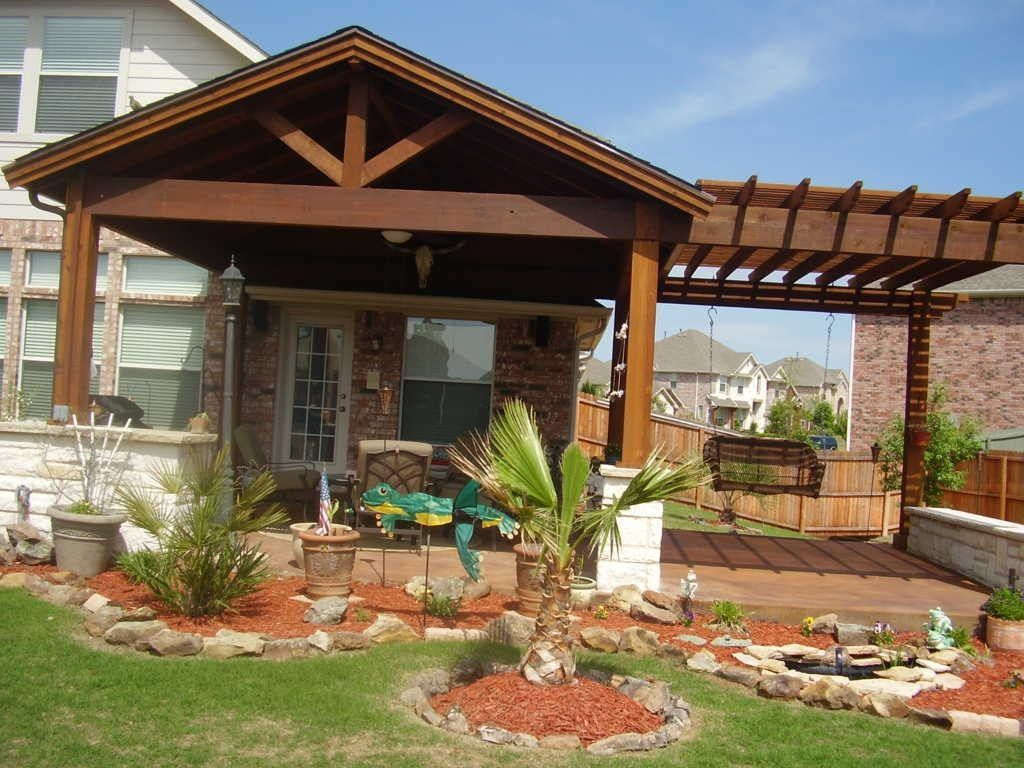 Cheap covered patio ideas the pergola on the side offers for Outdoor porches and patios