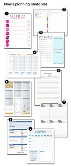 free printable fitness planning trackers workouts Pinterest