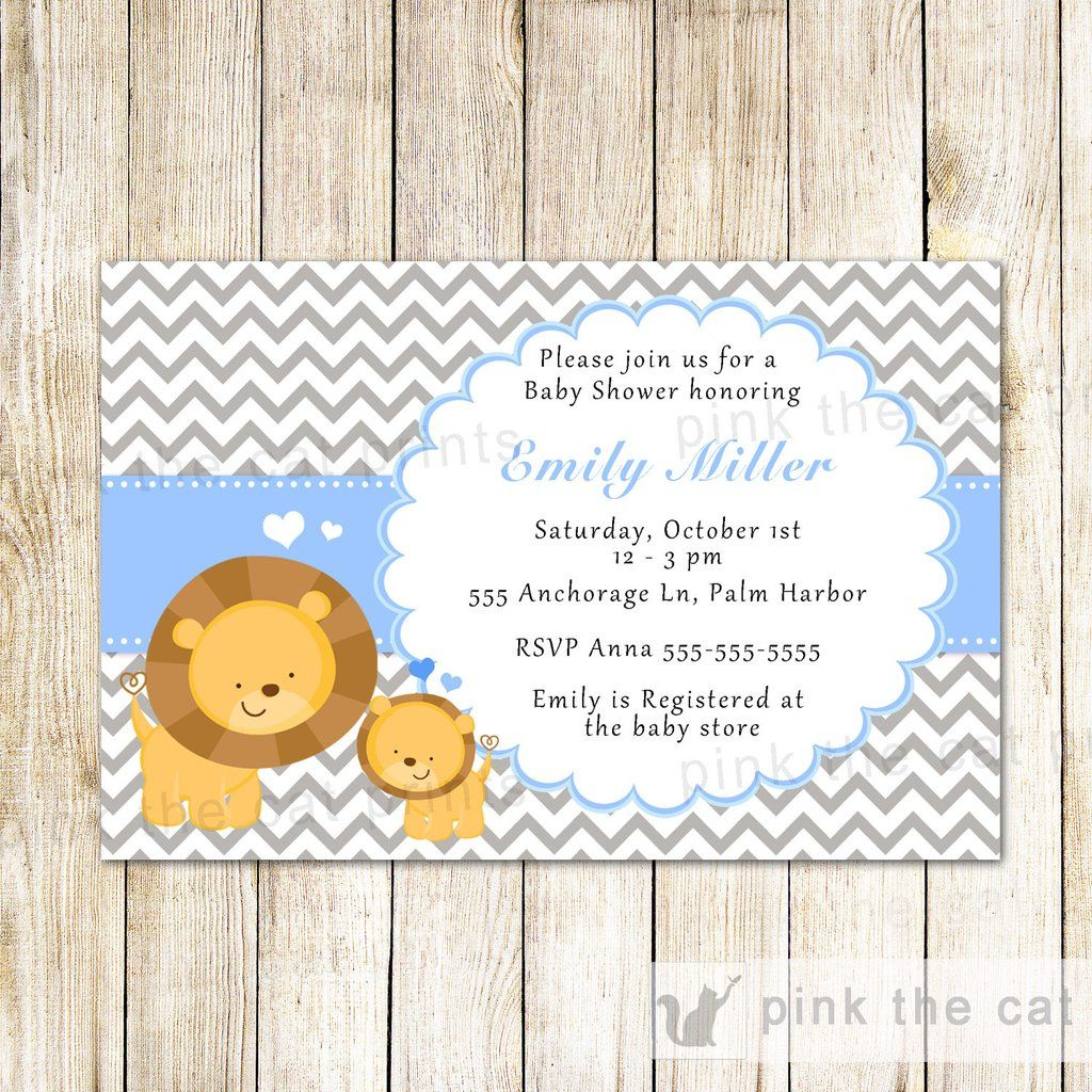 Lion Invitation Cub Baby Boy Shower Blue things I love Pinterest