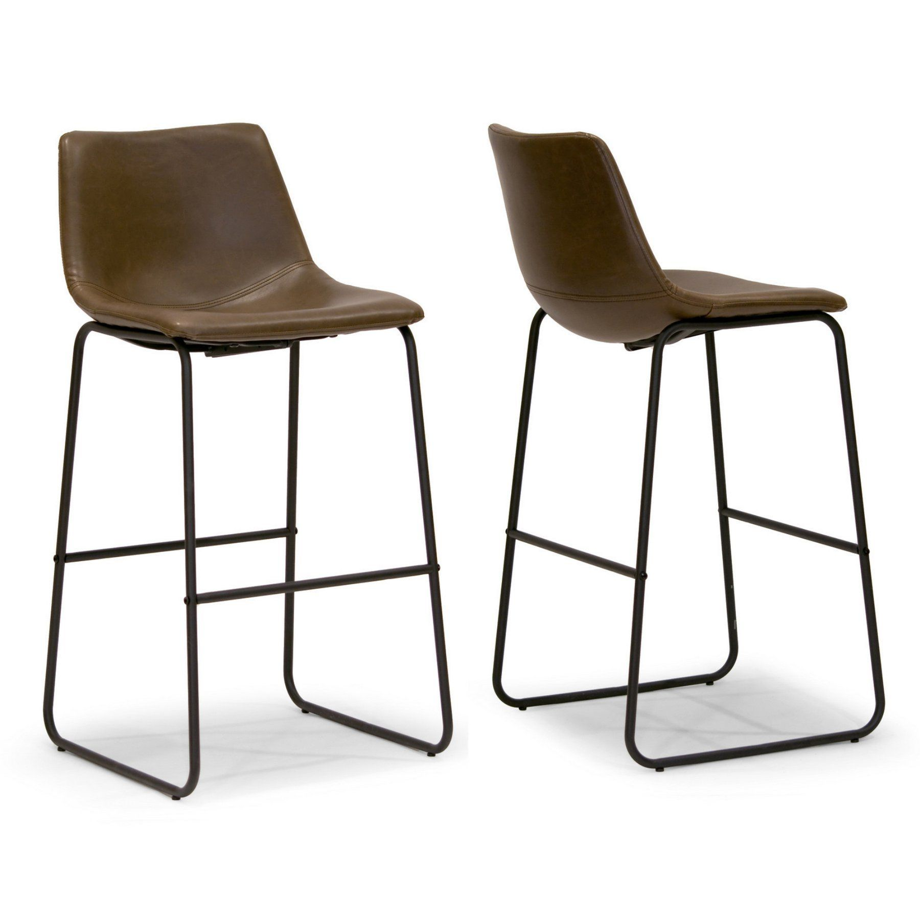 Glamour Home Adan Bar Stool Set Of 2 Ghstl 1131 Leather