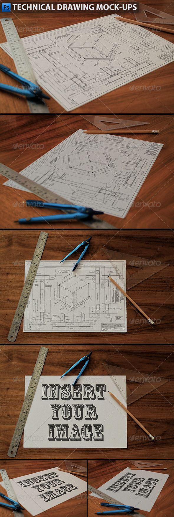 Technical Drawing   Drafting Mock-Ups  #GraphicRiver        Technical Drawing Mock-ups 3 mockups of a technical drawing. A4 paper on a wooden desk with a pencil, a metal ruler, plastic triangle ruler and a divider. A good mockup to showcase your sketches, drafts, blueprints, architectural plans and technical drawings.  File size: 2300×1500px  Image placeholder: 1800×1260px  Very easy to add your own image: Open the smart object -> Drag&Drop or paste in your image -> Save file & done! Notes: There is no pencil sketch effect added to your image. Only some overlay effects to make it look more realistic on paper. Backgrounds cannot be changed. Drawing image used in the preview is not included.     Created: 24October13 GraphicsFilesIncluded: PhotoshopPSD HighResolution: No Layered: Yes MinimumAdobeCSVersion: CS4 PixelDimensions: 2300x1500 Tags: PaperMockup #a4mockup #architecturalplan #architecturesketch #bluprint #designmockup #divider #draftingpaper #drawingmockup #drawingonpaper #handdrawn #industrialmockup #pencilsketch #realisticmockup #ruler #sketchonpaper #sketchpreview #sketchshowcase #techincaldrawing #technicalblueprint #technicalsketch #triangleruler