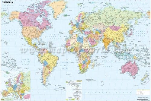 Large World Political Map with Cities  70  X 47      store     Large World Political Map with Cities  70  X