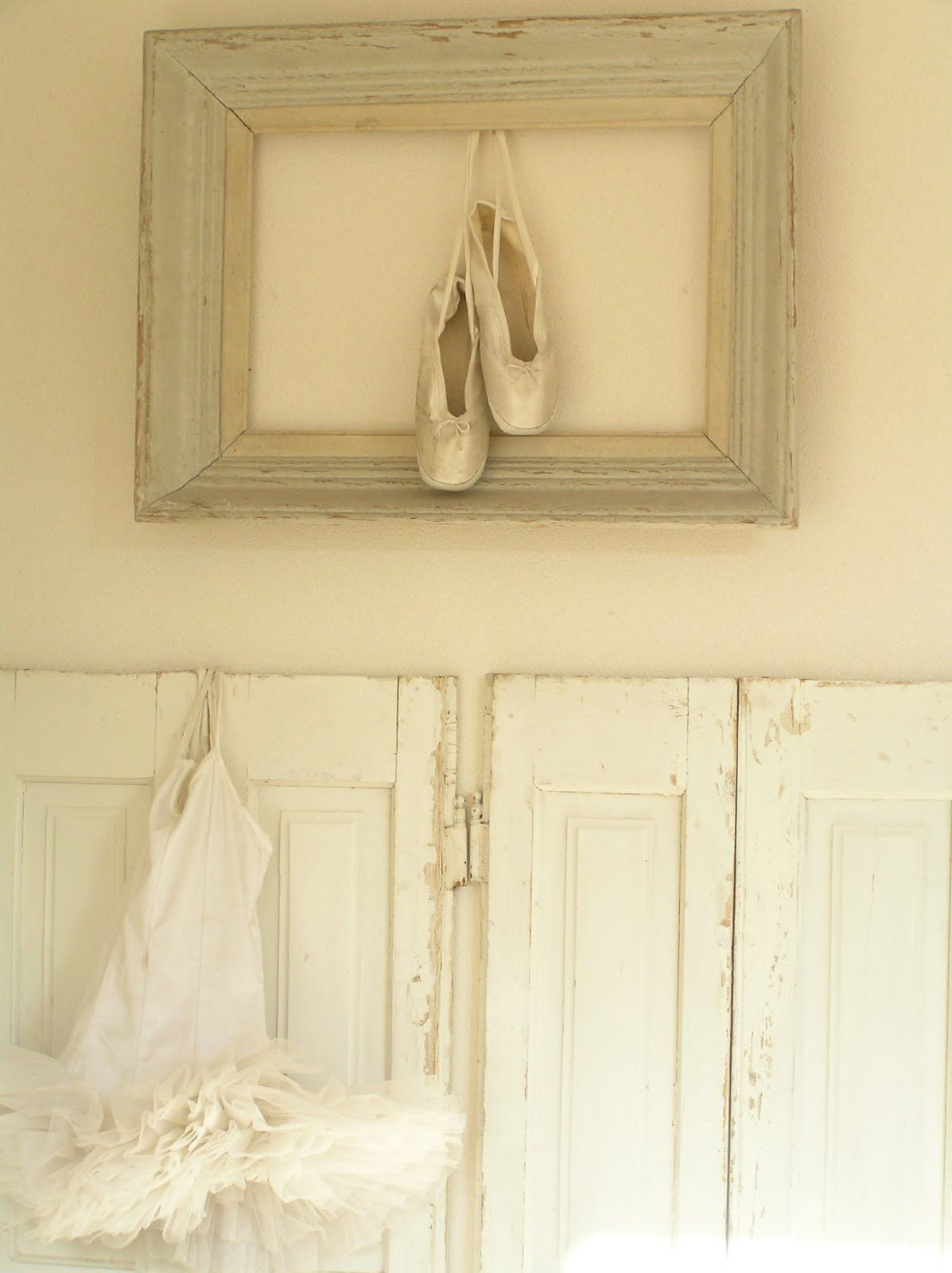 pointe shoes in a frame. hanging/framing objects instead of pictures ...