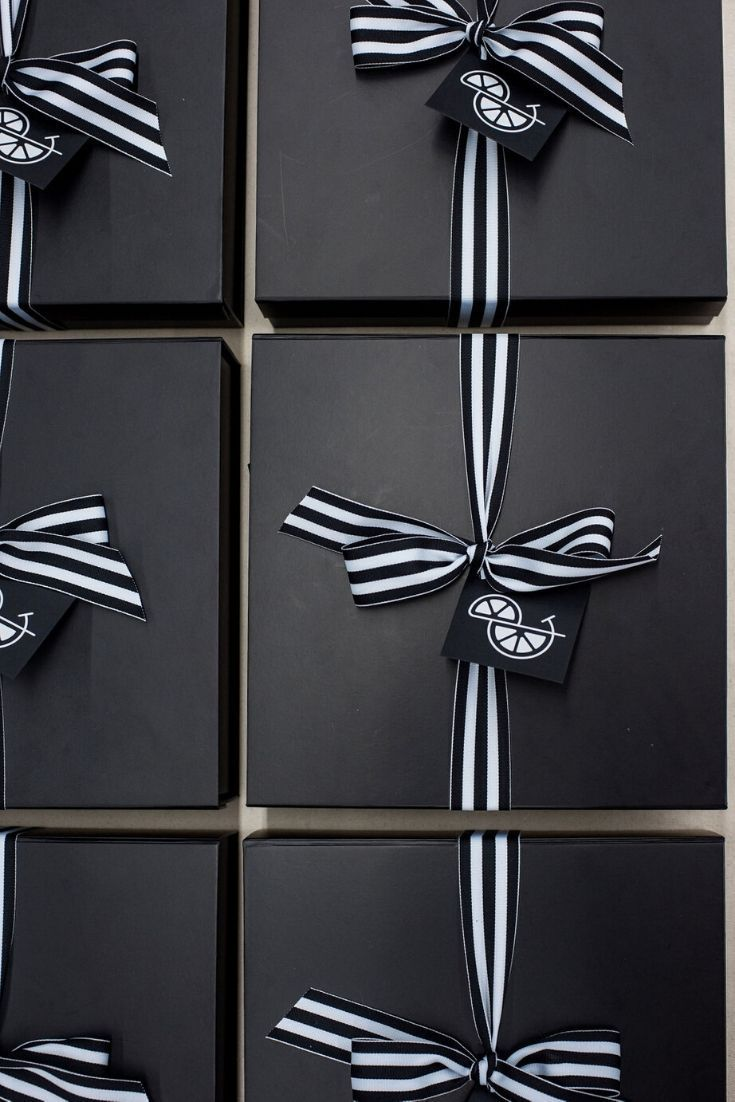 Artisan Thank You Gift Boxes Black and white professional thank you gift boxes are an elevated way