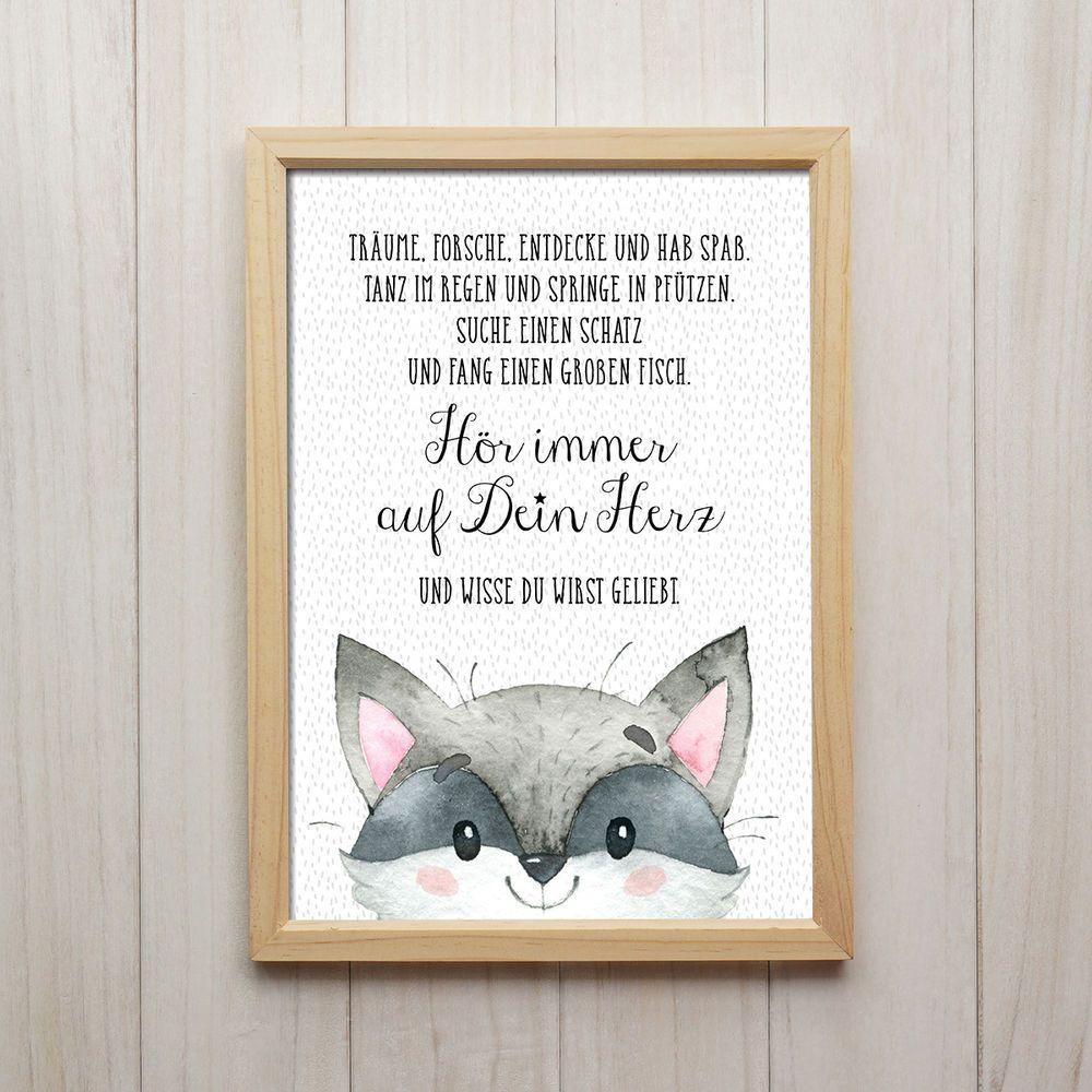 Details zu Hör Auf Dein Herz Kunstdruck DIN A4 Waschbär Spruch Bild ...