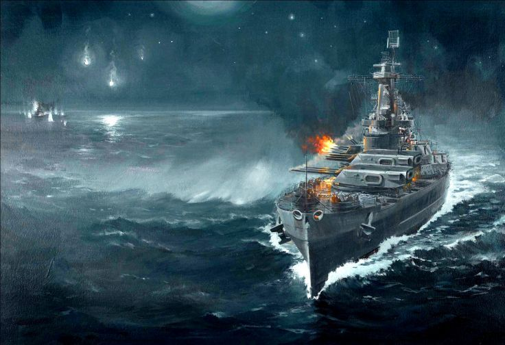 Battleship War Battle Ship Boat Military Art Painting Wallpaper