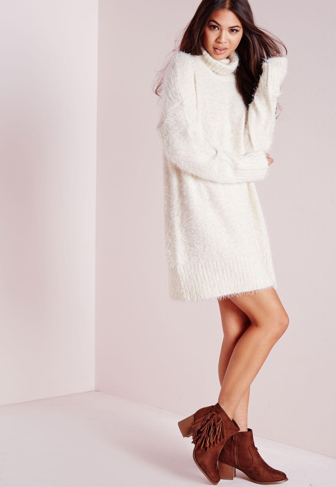 a0b96395597 Missguided - Robe-pull en laine poilue blanche col roulé