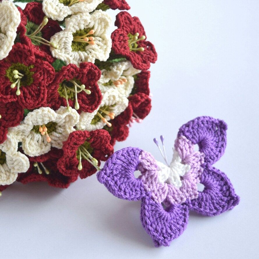 Lalehcrochet Shared A New Photo On Crochet Flowers Pinterest Rose Flower Diagram 4 Butterfly Pattern Tutorial For Appliques Hat Shawl Garden With And Written Instructions