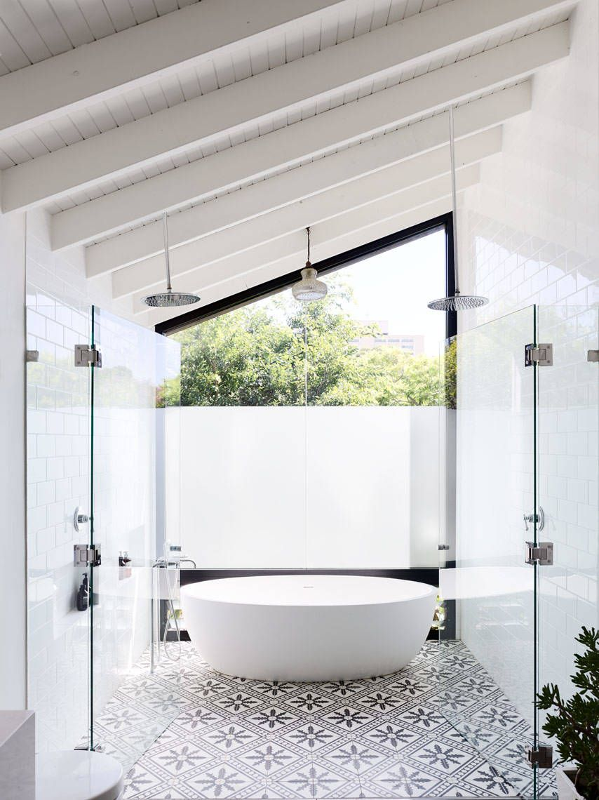 slanted white roof patterned floor tiles glass door free standing ...