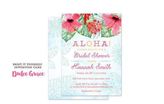Luau bridal shower invitations aloha wedding shower invites hawaii luau bridal shower invitations aloha filmwisefo