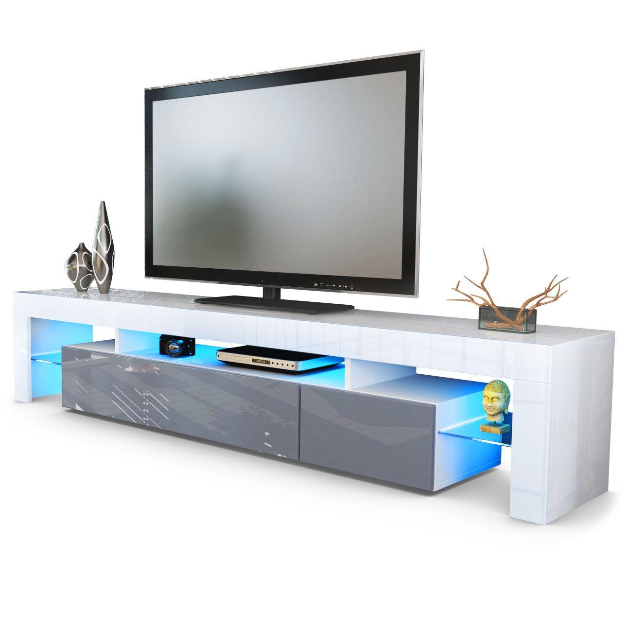 Lima V2 Tv Board Schwebender Mittelteil Hochglanzfronten Und  # Vladon Meuble Tv