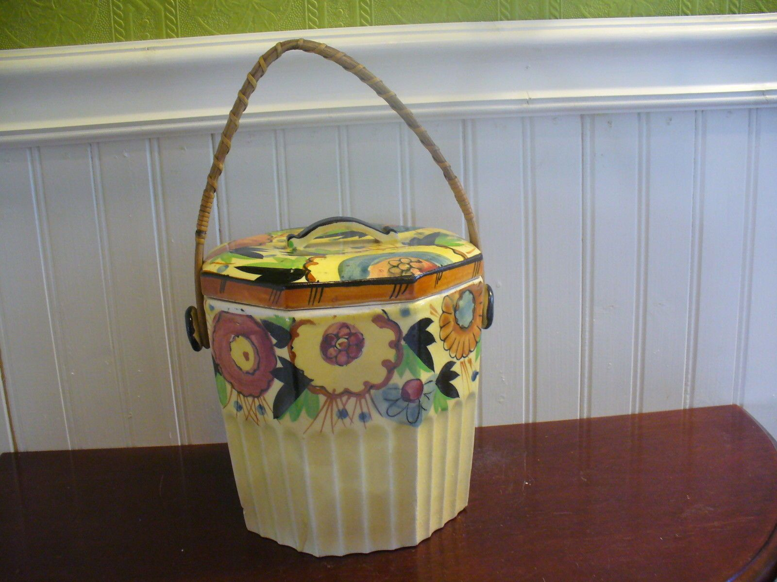 Vintage Japan Hand Painted Porcelain Floral Motif Wicker Handle Biscuit Jar | eBay & Vintage Japan Hand Painted Porcelain Floral Motif Wicker Handle ...