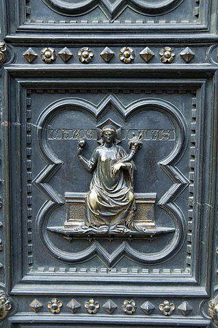 El panel de la puerta sur del Baptisterio (Baptisterio), Florencia (Firenze), Toscana, Italia, Europa