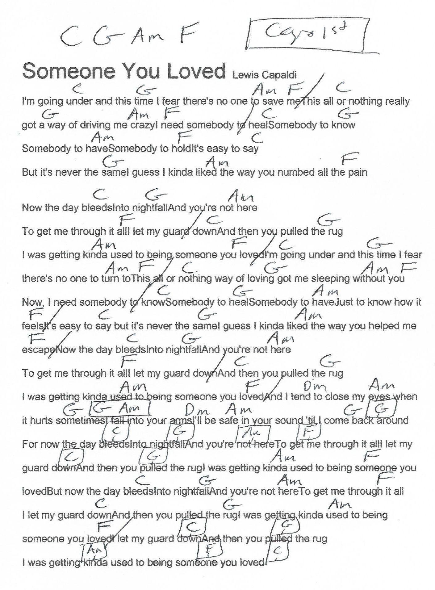 Lewis Capaldi Someone You Loved Parole : lewis, capaldi, someone, loved, parole, Someone, Loved, (Lewis, Capaldi), Guitar, Chord, Chart, Ukulele, Chords, Songs,, Ukelele, Songs