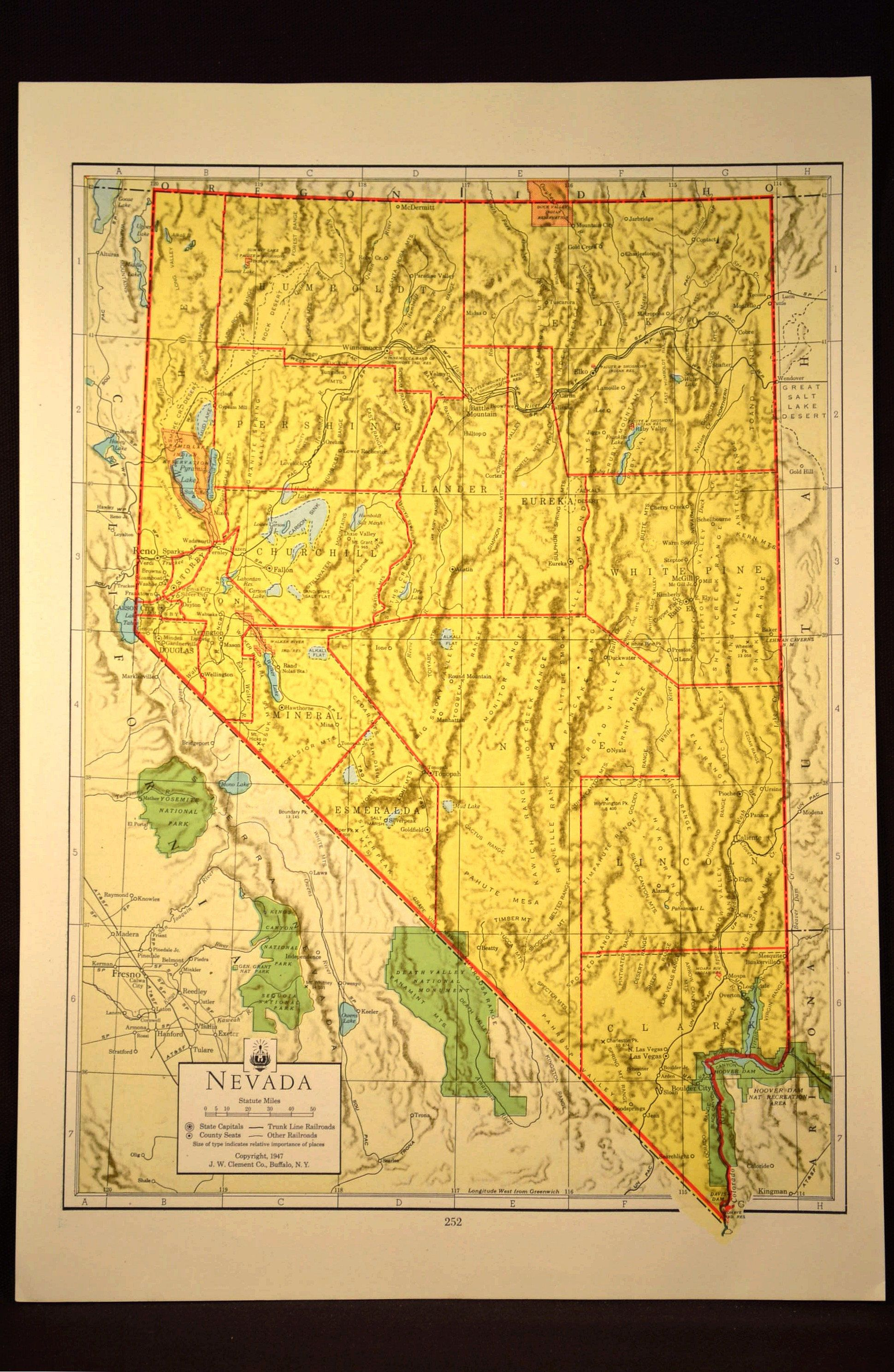 Colorful Yellow Nevada Terrain Map of Nevada Wall Art Original | Map ...