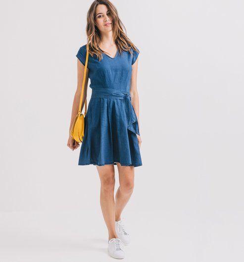 Vestido de mezcla de lino estampado petróleo claro - Promod
