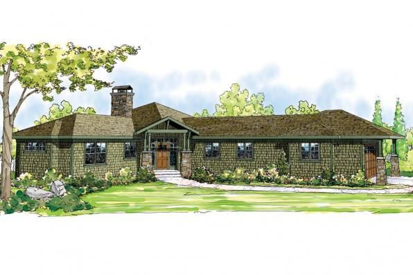 Ranch House Plan - view 50-015 - Front Elevation   Home ... on