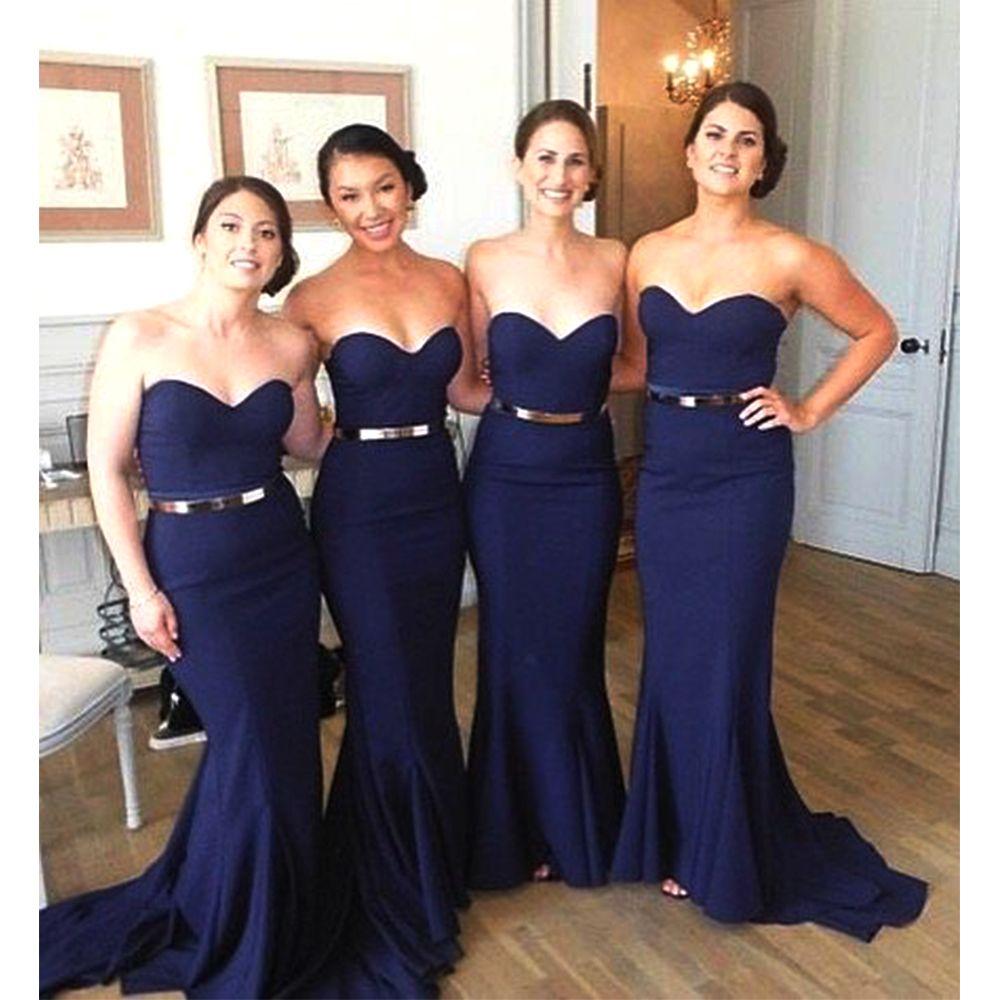 Elegant dark navy blue bridesmaid dresses long mermaid bridesmaid