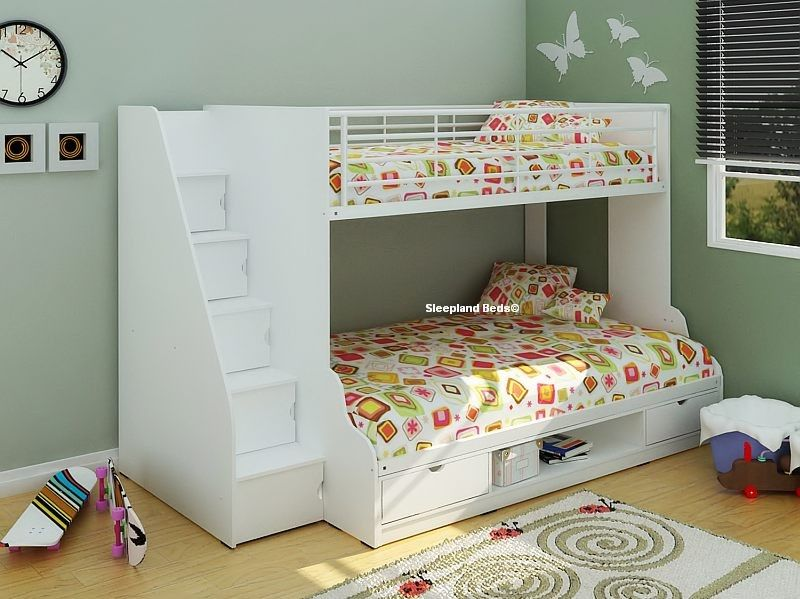 Superb Double Bed With Stairs Part - 2: White Double Bunk Bed With Storage Stairs - New U0026 Triple Kids Bunk Beds