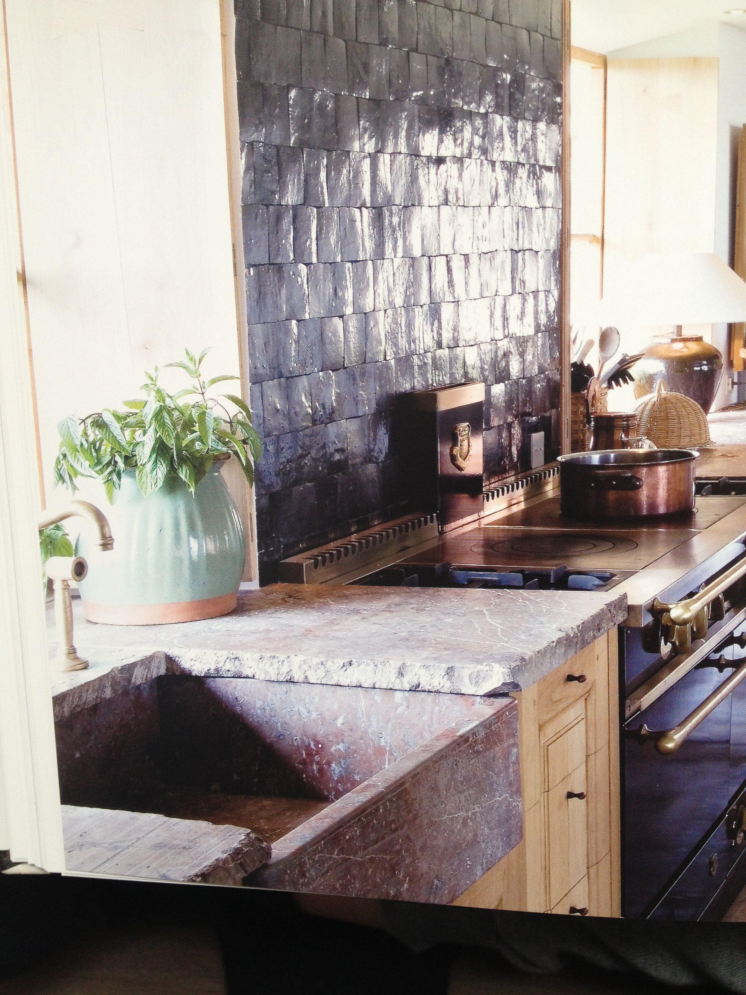 Natursteinbecken / neo-rustikale Küche | Haus | Pinterest