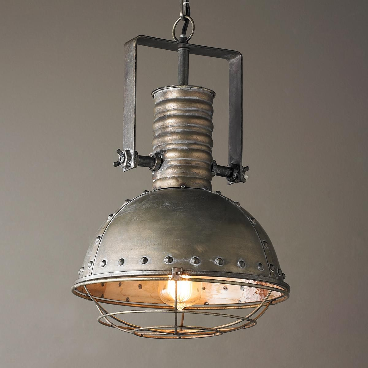 Old Factory Pendant 12 Inch Pewter In 2019: Industrial Caged Pendant With Rivets In 2019