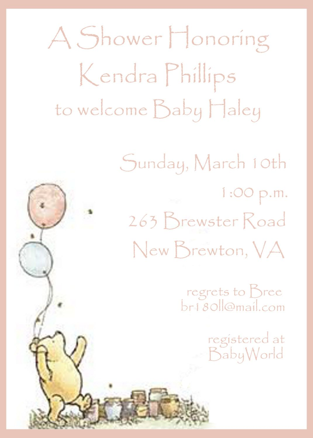 Baby Shower Invitation Winnie The Pooh By Celebrationspaperie 11 00 Vintage Winnie The Pooh Baby Shower Invitation Templates Baby Bear Baby Shower