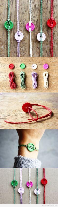 Bracelet fils, cordes et boutons, tuto pas à pas                                                                                                                                                                                 Plus