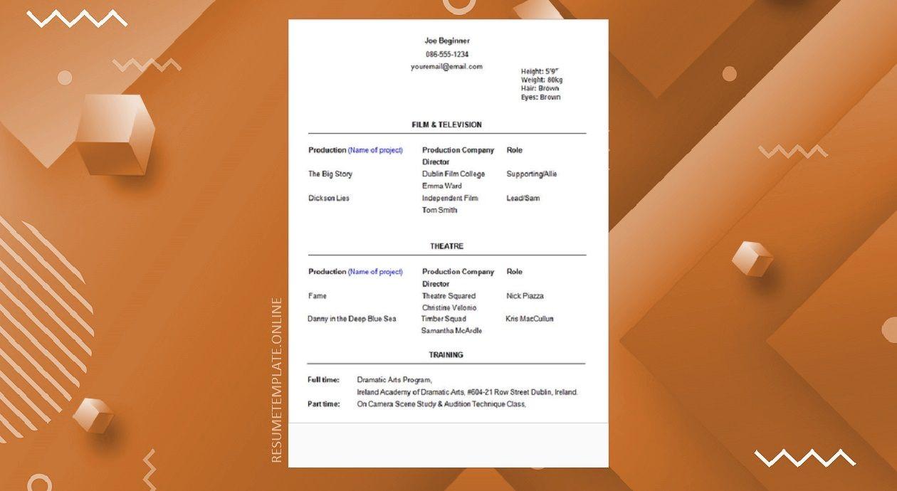 Beginner Acting Resume Template Simple Resume Template