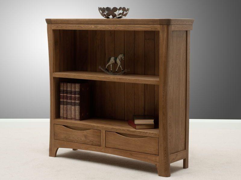 Orrick Rustic Solid Oak Wide Bookcase