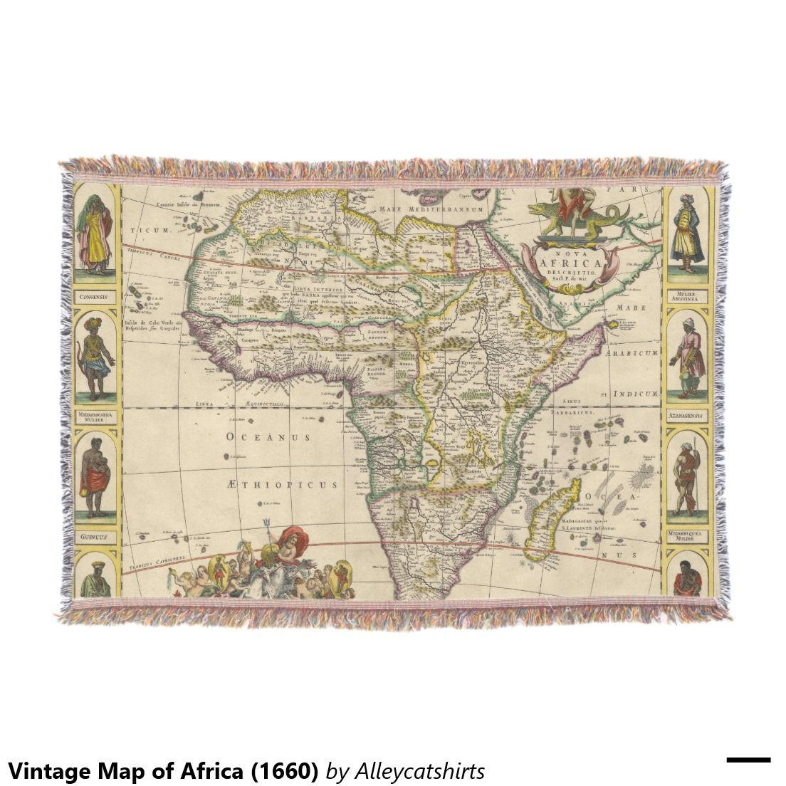 Vintage map of africa 1660 throw blanket throw blankets vintage map of africa 1660 throw blanket gumiabroncs Image collections
