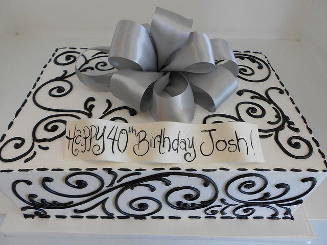 White Sheet Cake With Black Piping 2117 White Sheet