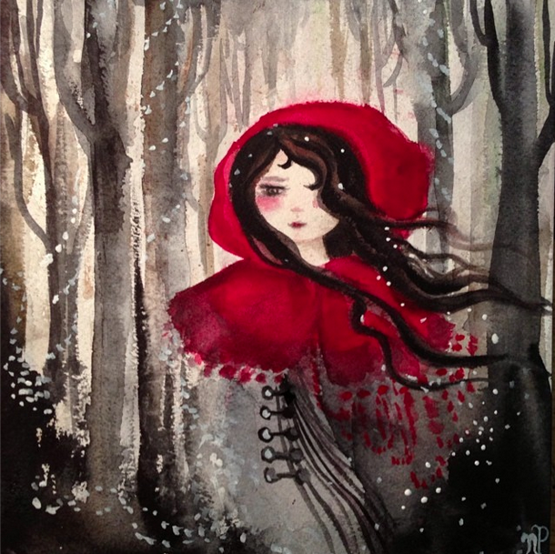 In the Winter Wood by Nicole Piar Fairy Tale Red Rising Hood Watercolor Painting #watercolor #redridinghood #fairytale #magical