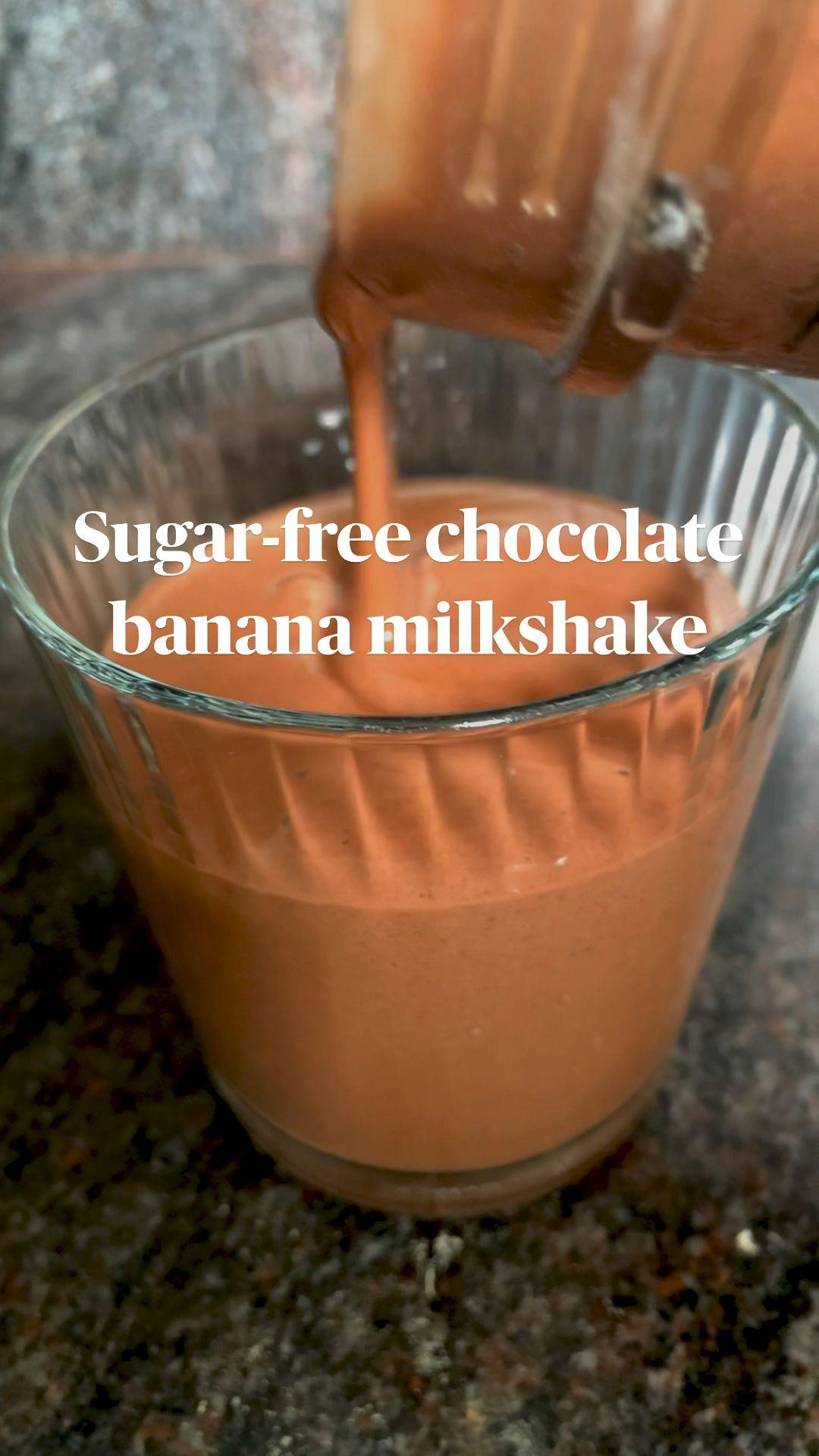 Sugar-free & vegan chocolate banana milkshake