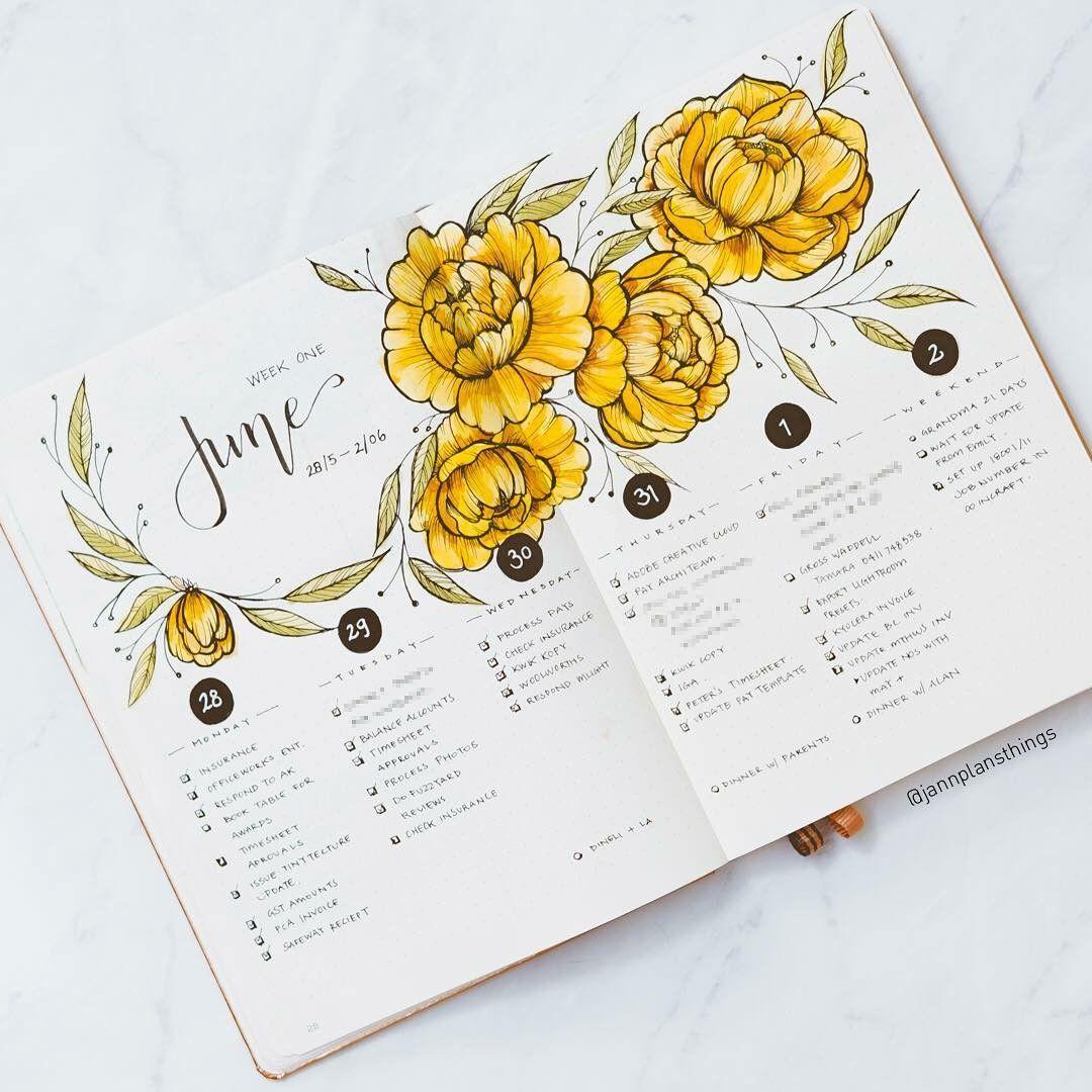 June Bullet Yellow Flowers Bullet Journal Art Bullet Journal