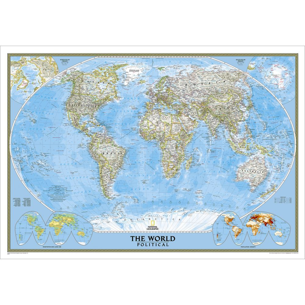 World Political Map (Classic), Enlarged and Mounted | National ...