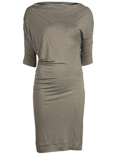 Arianna dress in military green\ from Vivienne Westwood Anglomania. This jersey dress features a boat neckline, three-quarter dolman sleeves, and elastic ruching along sides and sleeves.
