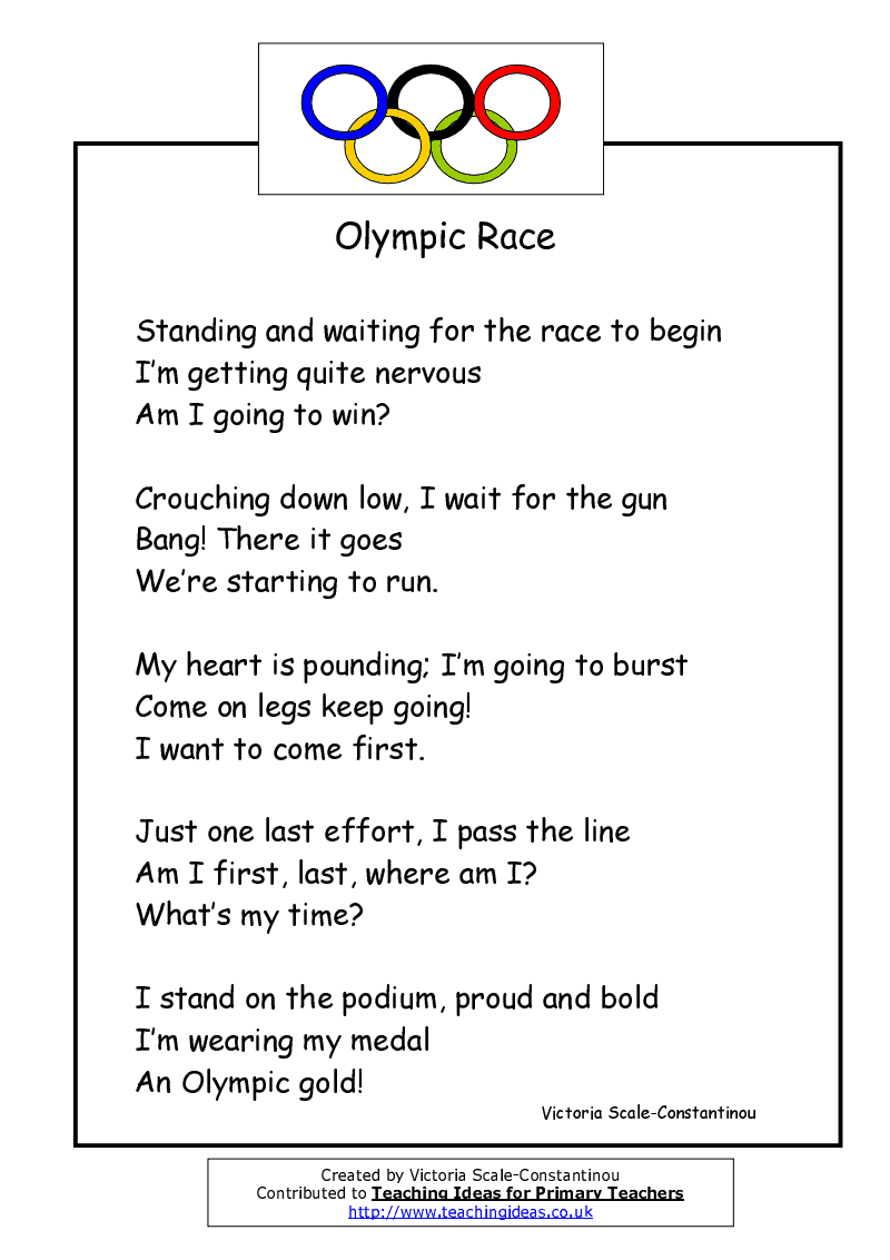 A Poem About The Olympics To Read To The Children By Victoria Scale Constantinou Preschool Olympics Olympic Theme Olympics Activities [ 1132 x 800 Pixel ]