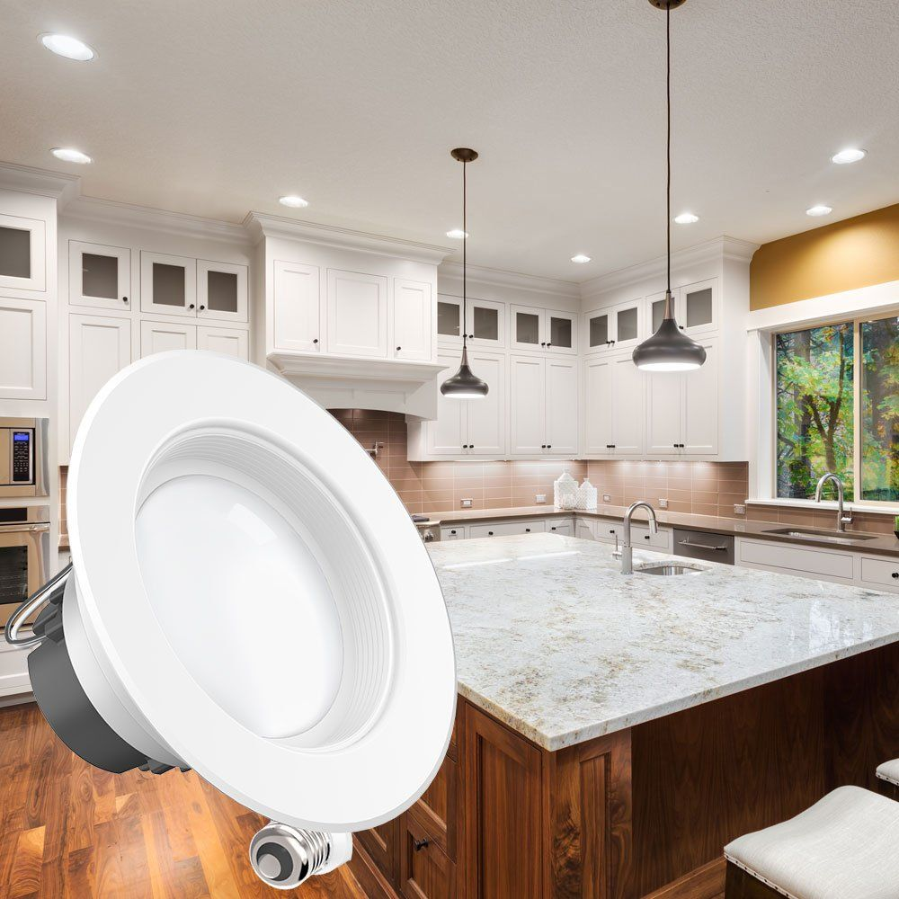 Sunco 10 Pack 11watt 4 Inch Energy Star Ullisted Dimmable Led Downlight Retrofit Baffle Recessed Lighting Kit Fix Downlights Recessed Lighting Kits Warm White
