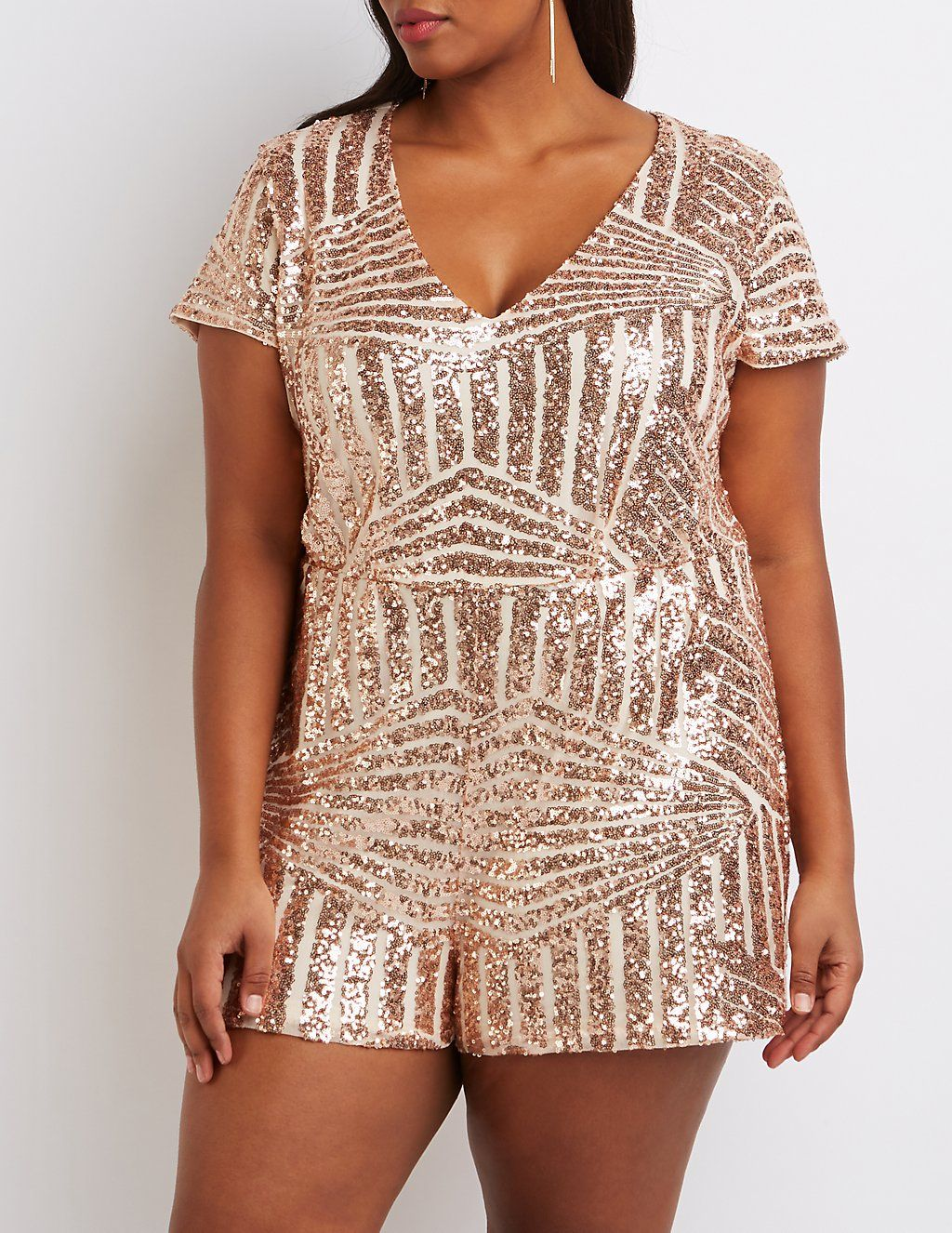 43afab88ab44 Plus Size Sequin V-Neck Romper