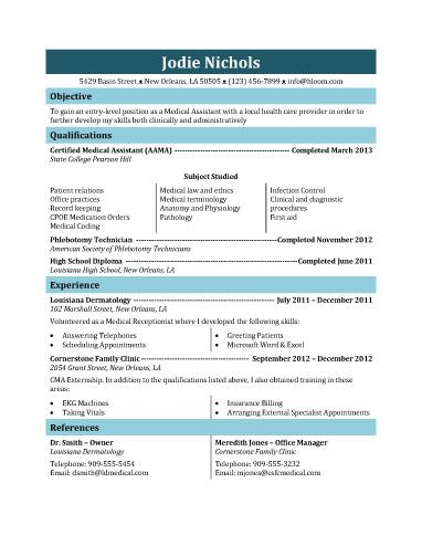 This Resume Can Be Used For A Student Medical Assistant Who Has - medical assistant job description