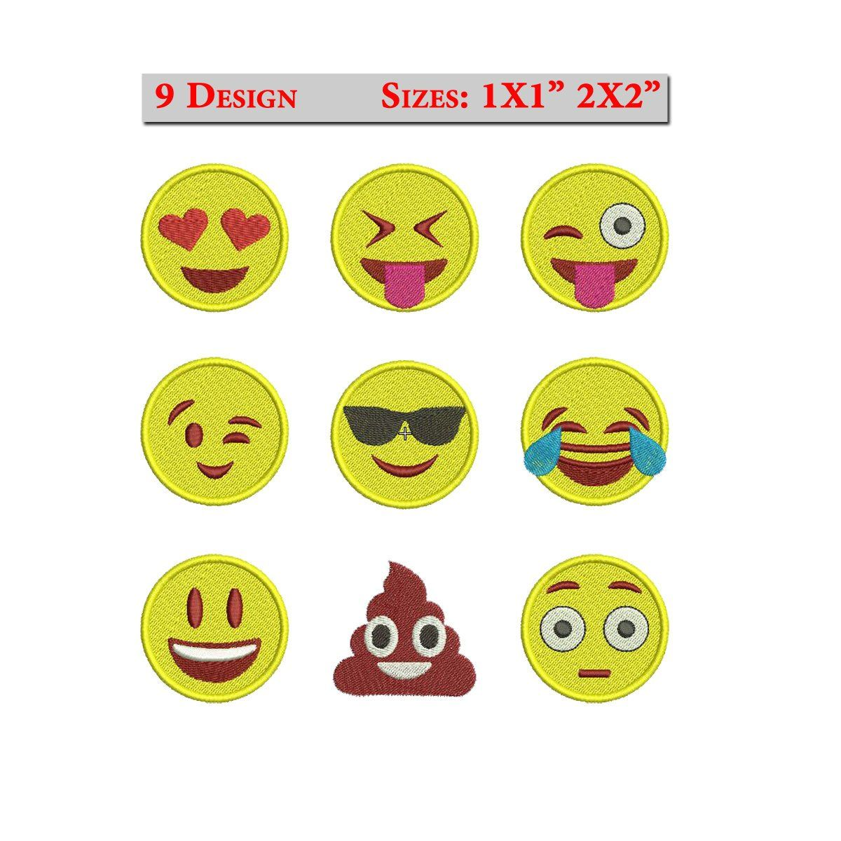 Emoji Embroidery Design Set Of 9 Whatsapp Machine Embroidery Design Smiley Emojis Emoticons Smiley Embroidery Emoji Face Instant Download With Images Embroidery Design Sets Machine Embroidery Designs Embroidery Designs