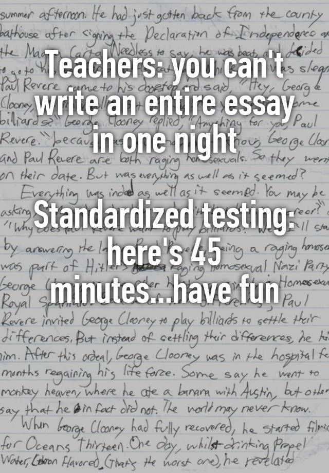 One night to write an essay