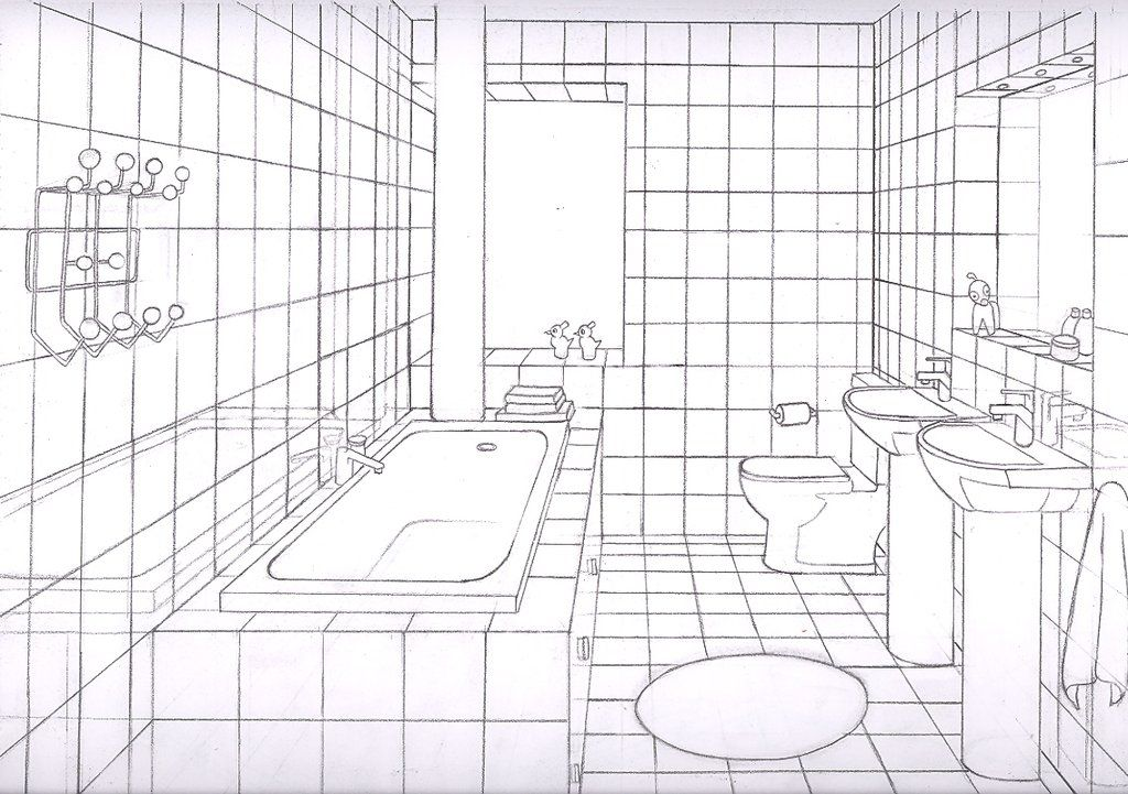 Bathroom 1 Point By Liquidrice On Deviantart Perspective Room One Point Perspective Room Drawing Furniture