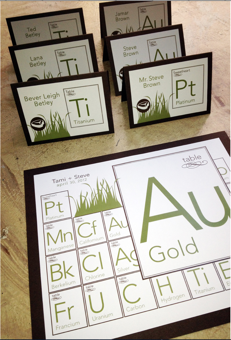Green periodic table name escort cards geek chic wedding green periodic table name escort cards urtaz Choice Image