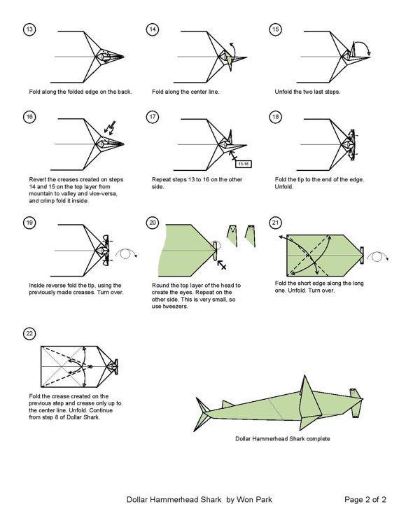 hammerhead shark diagram  2 of 2  money dollar origami Origami Square Diagram Origami Great White Shark Diagram PDF
