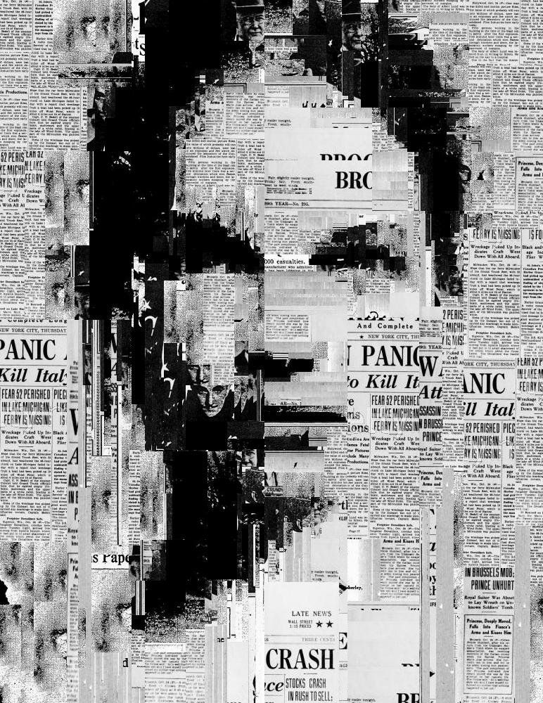 Typography black and white newspaper collagecollage portraitcollage