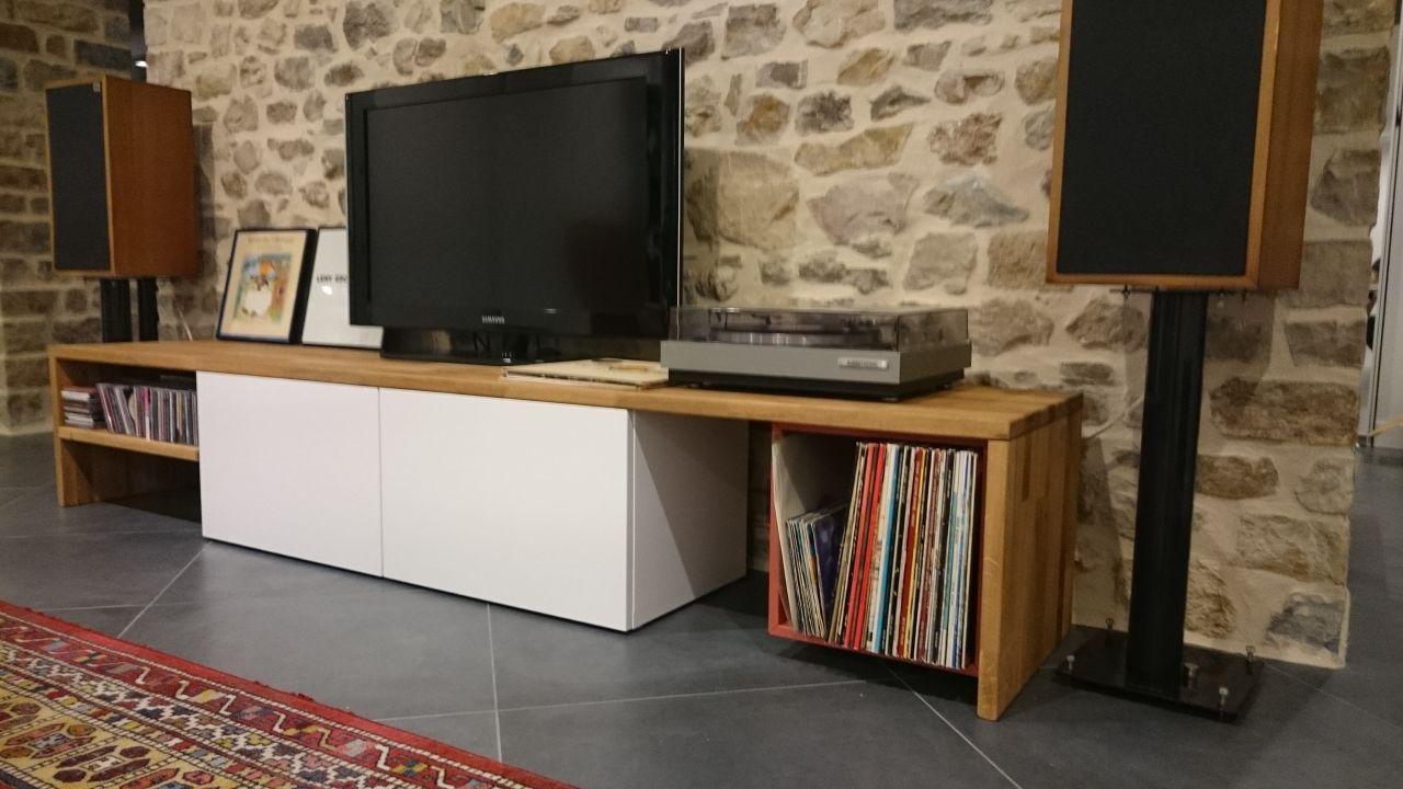 Fabrication D Un Meuble Tv Rehabilitation D Une Ferme En Mayenne Par Adp53 Sur Forumconstruire Com Meuble Meuble Tv Mobilier De Salon